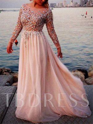 Sheer Neck Beading Sequins Long Sleeve Evening Dress