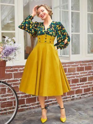 YELLOW 1950S SPLIT SLEEVE SWING DRESS