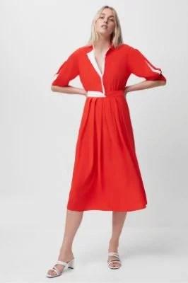 AIDEN DRAPE CONTRAST SHIRT DRESS