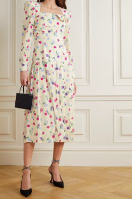 ALESSANDRA RICH - Bow-detailed pleated floral-print silk-crepe midi dress