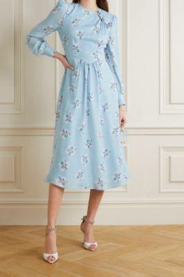 ALESSANDRA RICH - Button-embellished floral-print silk crepe de chine midi dress