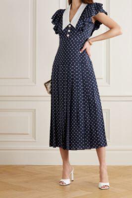 ALESSANDRA RICH - Button-embellished ruffled polka-dot silk midi dress