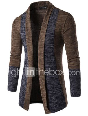Basic Men's Color Block Patchwork Cardigan Long Sleeve Butterfly Sleeves Regular Sweater Cardigans Fall Winter Spring Camel Dark Gray Gray