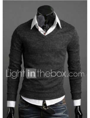 Casual Men's Solid Colored Pullover Long Sleeve Regular Sweater Cardigans Fall Winter V Neck Wine Black Purple