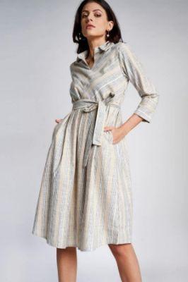 Natural Stripes Fit And Flare Cuff Midi Dress