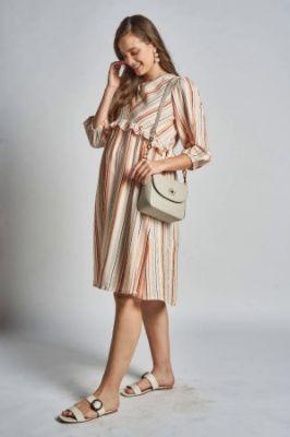 Orange - White Stripes Pleated Maternity Dress