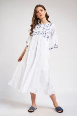 White Embroidered Fit And Flare Maxi Gown 2