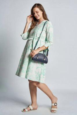 White - Green Floral Maternity Knee Length Dress