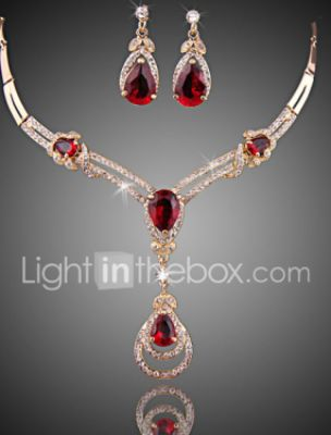 Women's Red Multicolor Crystal Synthetic Ruby Jewelry Set Drop Earrings Pendant Necklace Ladies Luxury Fashion Cubic Zirconia Gold Plated Earrings Jewelry Black / Purple / Red For Wedding Party