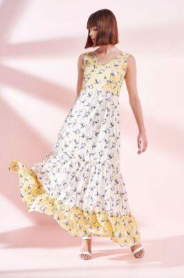 Yellow - White Floral V-Neck Sleeveless Gown