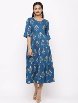 Floral Print Tiered Flare Ethnic Dress
