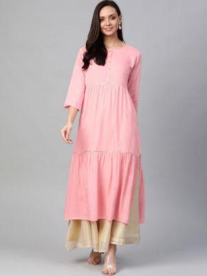 Pink Rayon Tiered Kurta
