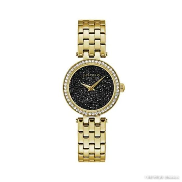 28.5mm Ladies' Caravelle Crystal Watch with Black Crystal Pave Dial and Yellow Gold-Tone Bracelet