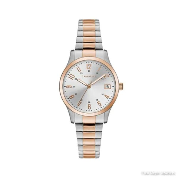 30mm Ladies' Caravelle Two-Tone Dress Watch with Silver Dial and Expansion Bracelet
