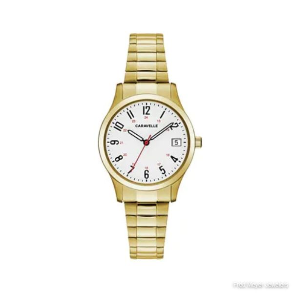 Ladies' Caravelle Watch with Date Display in Gold-Tone Stainless Steel
