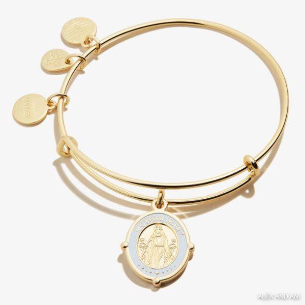 Mother Mary Embossed Charm Bangle