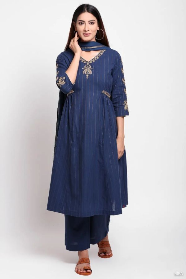 Navy Blue Cotton A Line Suit Set