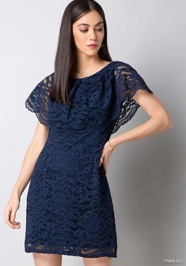 Navy Floral Lace Cape Dress