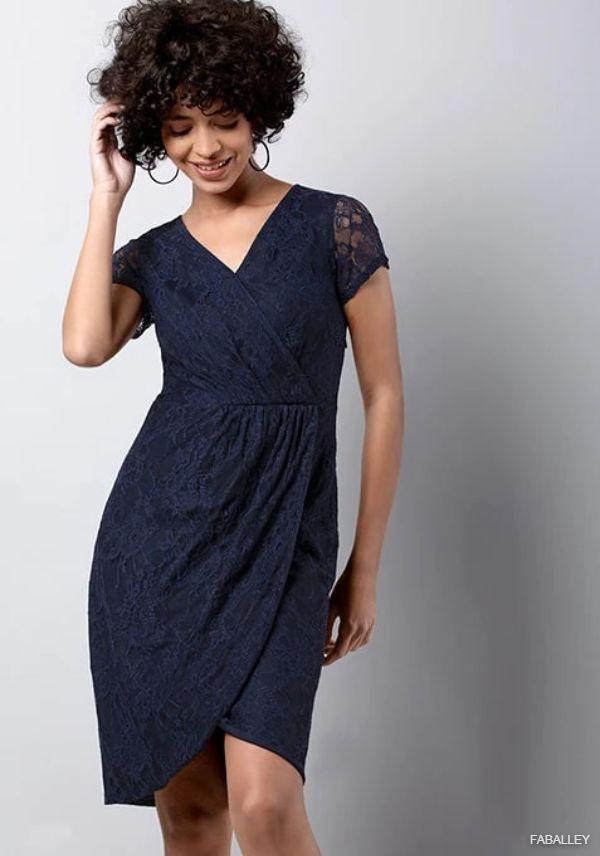 Navy Wrap Gathered Lace Dress