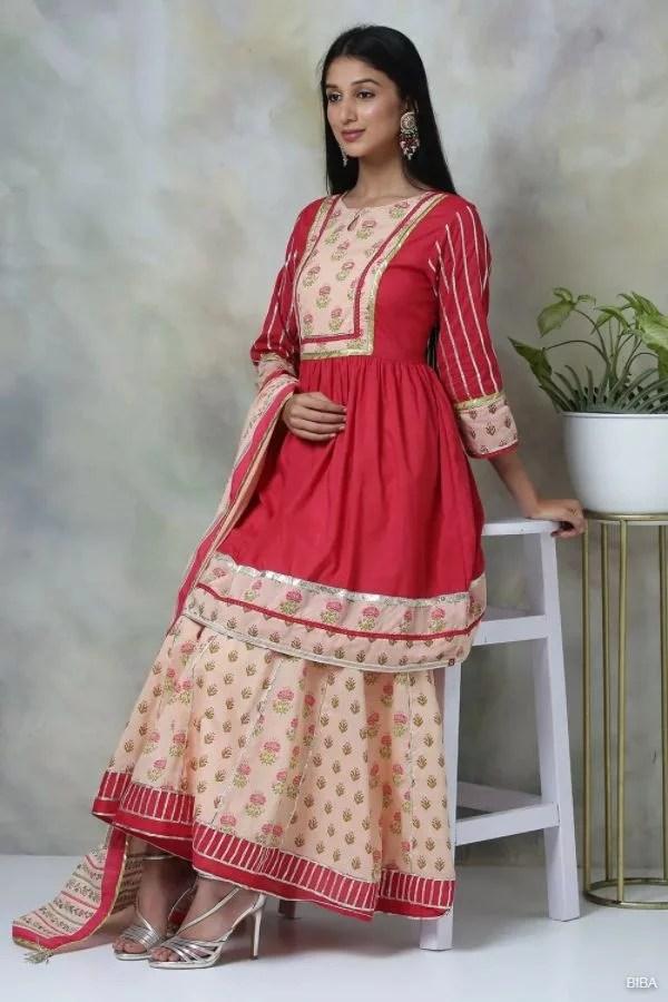 Pink Cotton Garara Suit Set