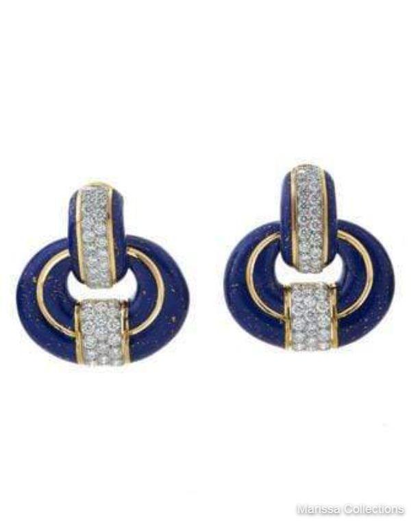 DAVID WEBB - Blue Enamel Doorknocker Earrings