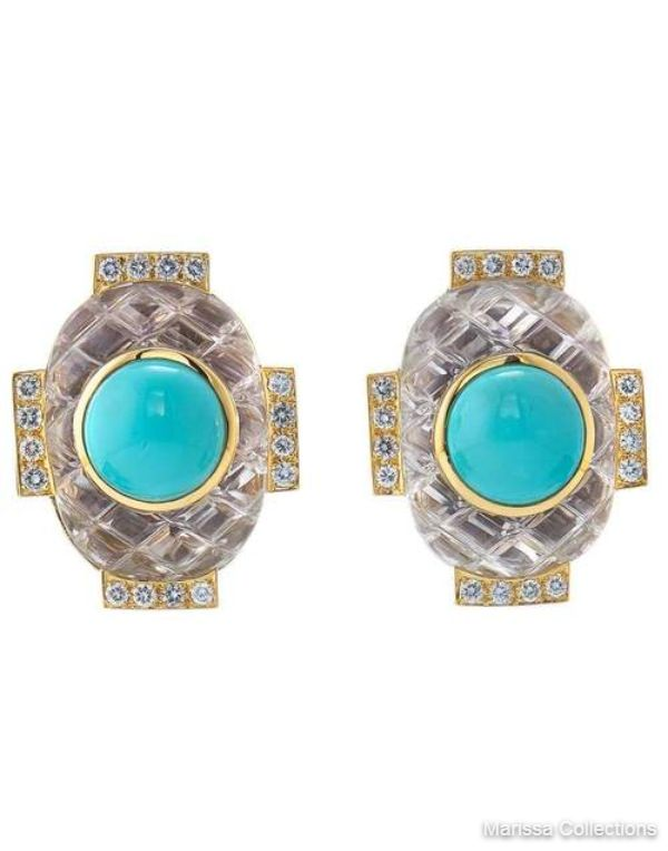 DAVID WEBB - Turquoise and Rock Crystal Earrings