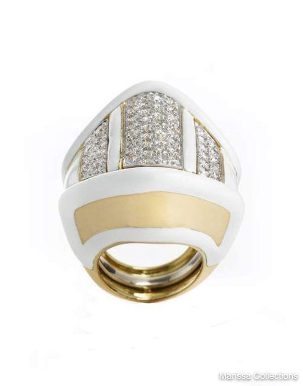 DAVID WEBB - White Enamel and Diamond Ring