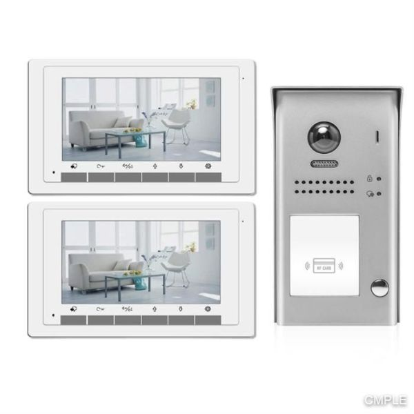 Video Intercom Entry System DK1721S 1 Apartment Audio/Video Kit with 2 Inside Monitors