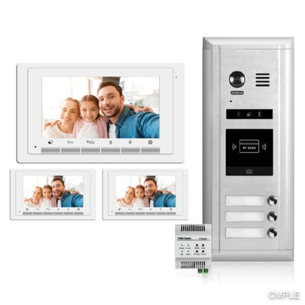 Video Intercom Entry System DK1731S - 3 Apartment Audio/Video Kit with 3 Inside Monitors and IPG Module