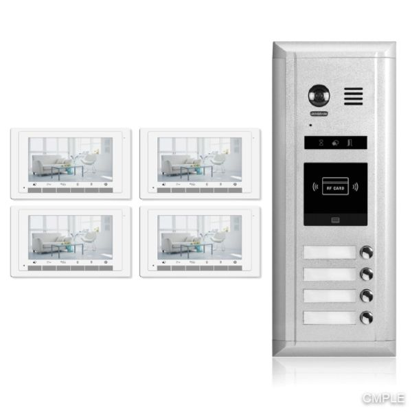 Video Intercom Entry System DK1741S - 4 Apartment Audio/Video Kit (4 monitors included)