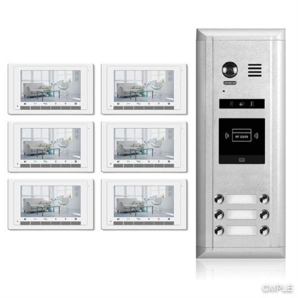 Video Intercom Entry System DK1761S 6 Apartment Audio/Video Kit (6 monitors included)