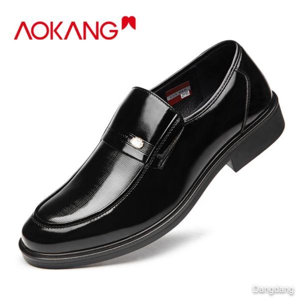 Aokang men's shoes business leather shoes men's foot low-top single shoes leather shoes men
