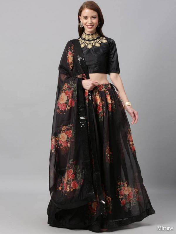 BLACK COLOUR FLORAL PRINT ORGANZA FLARE SEMI STITCHED LEHENGA WITH EMBROIDERY BLOUSE
