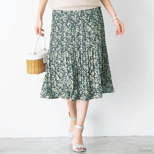 Floral print pleated skirt (hand wash OK)