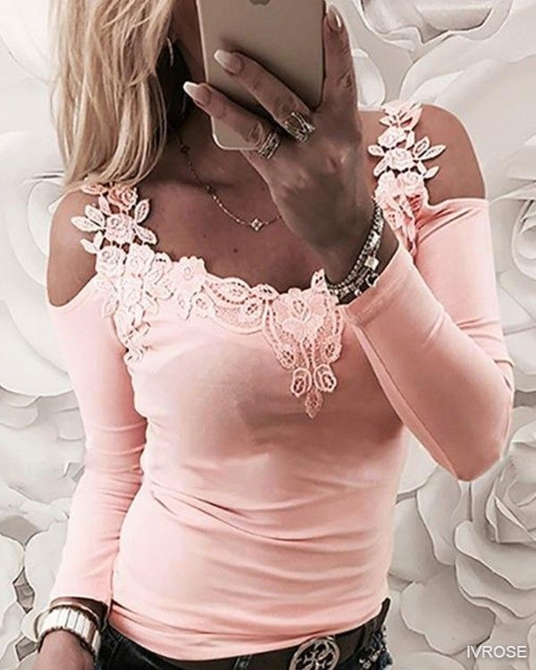 Lace Applique Long Sleeve Slim Fit Casual Blouse