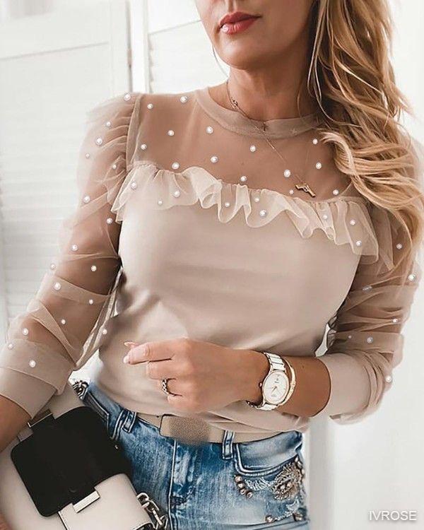 Patchwork Beaded Sheer Mesh Blouse Sexy O Neck Women Shirt Elegant Ruffle Puff Long Sleeve Tops