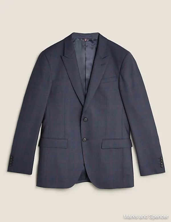 Tailored Fit Wool Check Jacket
