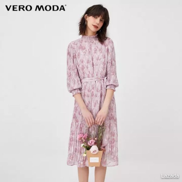 Vero Moda Frilled 3/4 Sleeves Pleated Dress 32017C555