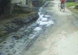 सड़क पर बहईत नाली के पानी
