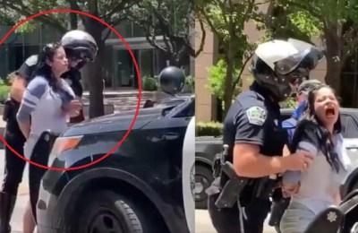 US police officer, arrest, rights activist, Austin