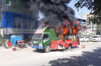 Saylani, blood donation truck, fire, Karachi, Disco Bakery