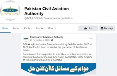 Pakistan, Civil Aviation, CAA, E-Kachehri, people's problems
