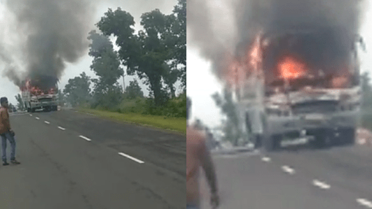 bus bike fire in seoni news