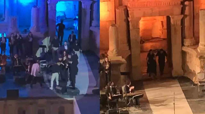 ماجدة الرومي تفقد توازنها في مهرجان جرش - الأردن