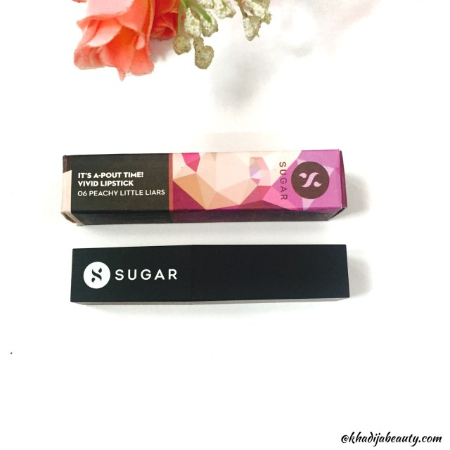 Sugar cosmetics It'a A pout time vivid lipsctick peachy little liars, best nude lipstick, khadija beauty , swatches