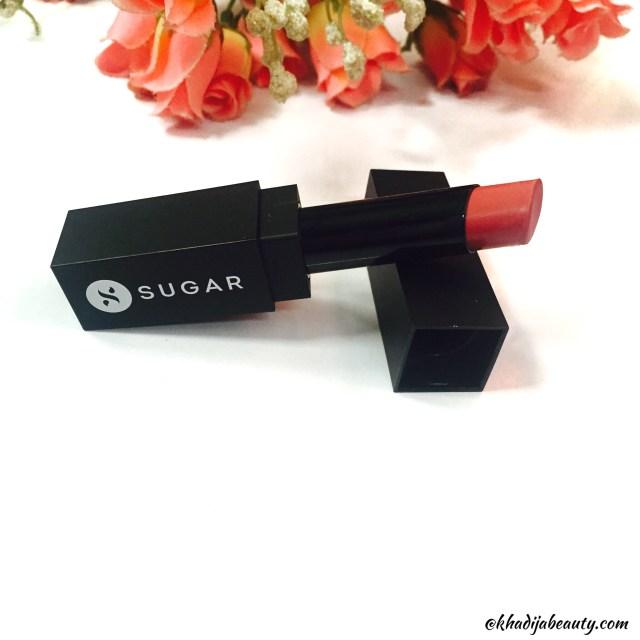 Sugar cosmetics It'a A pout time vivid lipsctick peachy little liars, best nude lipstick, khadija beauty