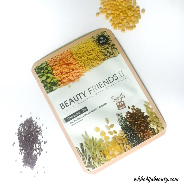 beauty friends II cereal essence face mask sheet review, skin18, khadija beauty