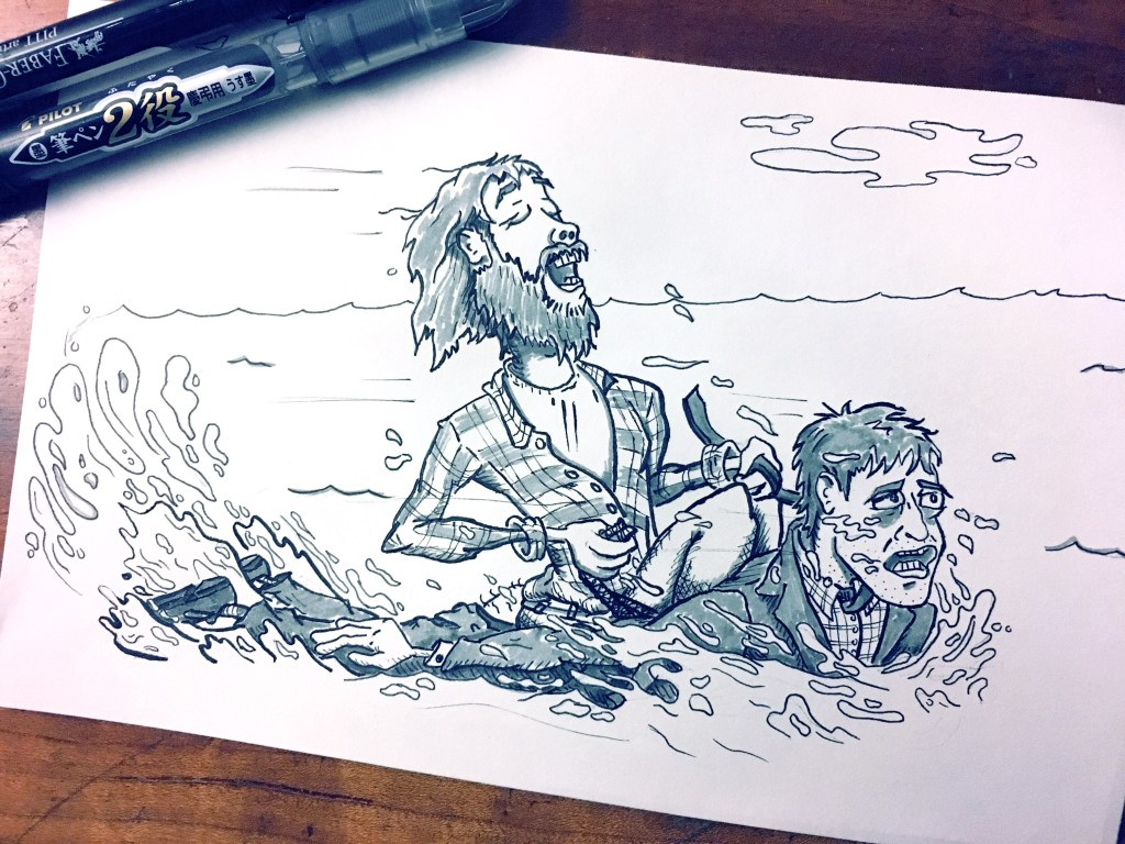 "Inktober ""Wet"" Theme – Swiss Army Man"