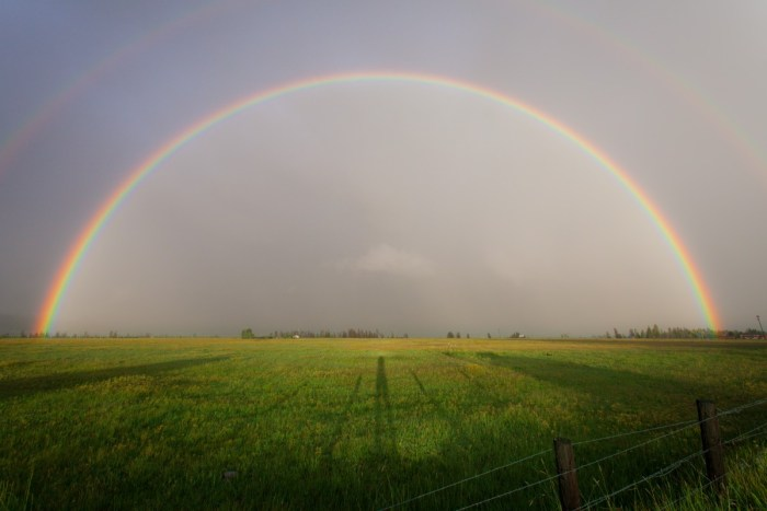 Image of a rainbow spanning the horizon, viewed across a flat green field.