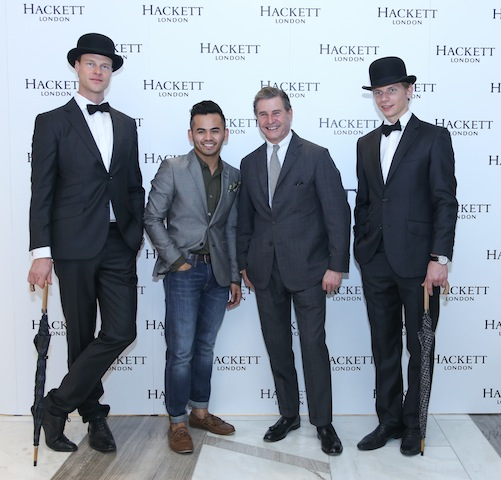 Jeremy Hackett with the models and a guest